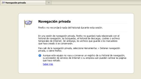 Firefox, navegación privada