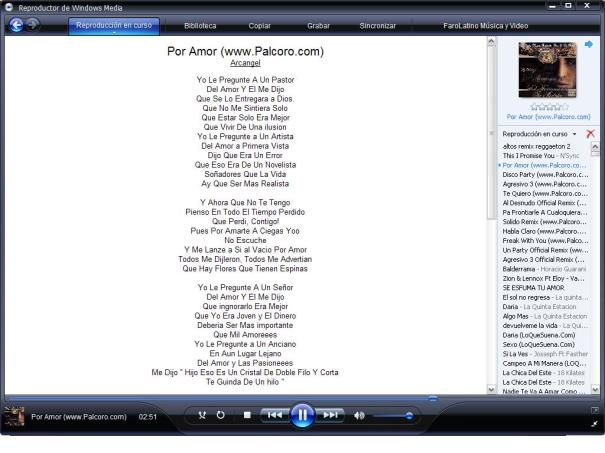 Lyrics plugin en Windows Media Player